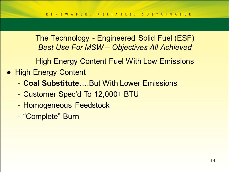 High Energy Content Fuel With Low Emissions