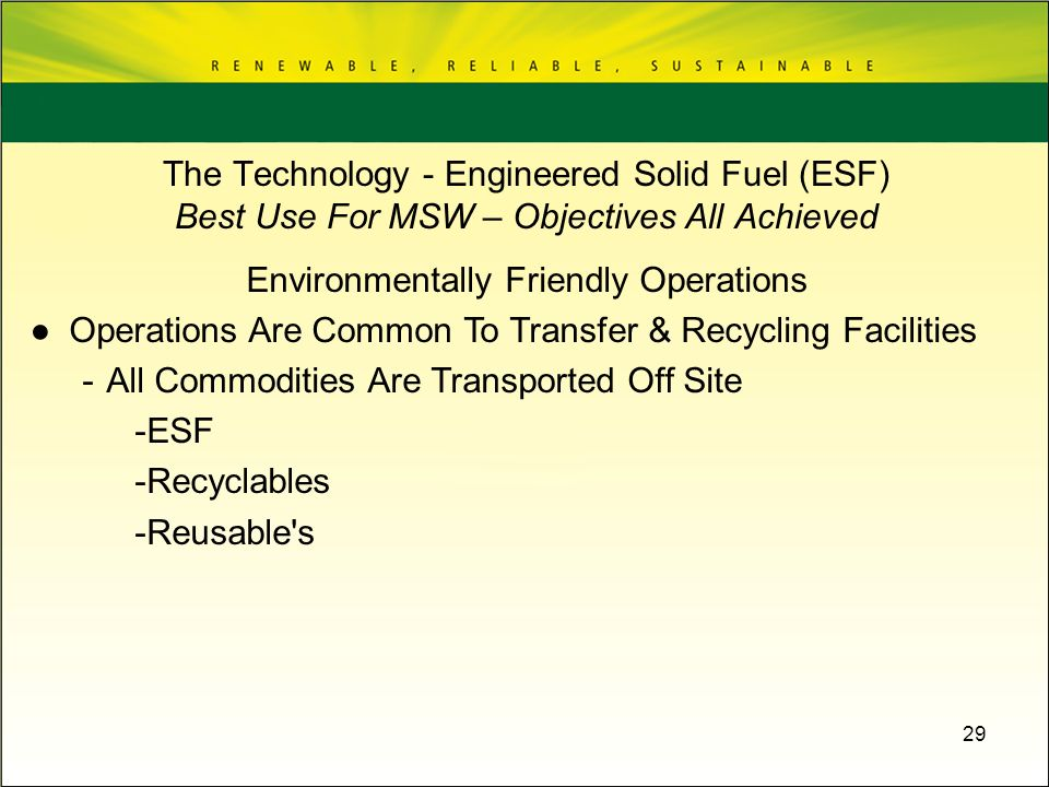 Environmentally Friendly Operations