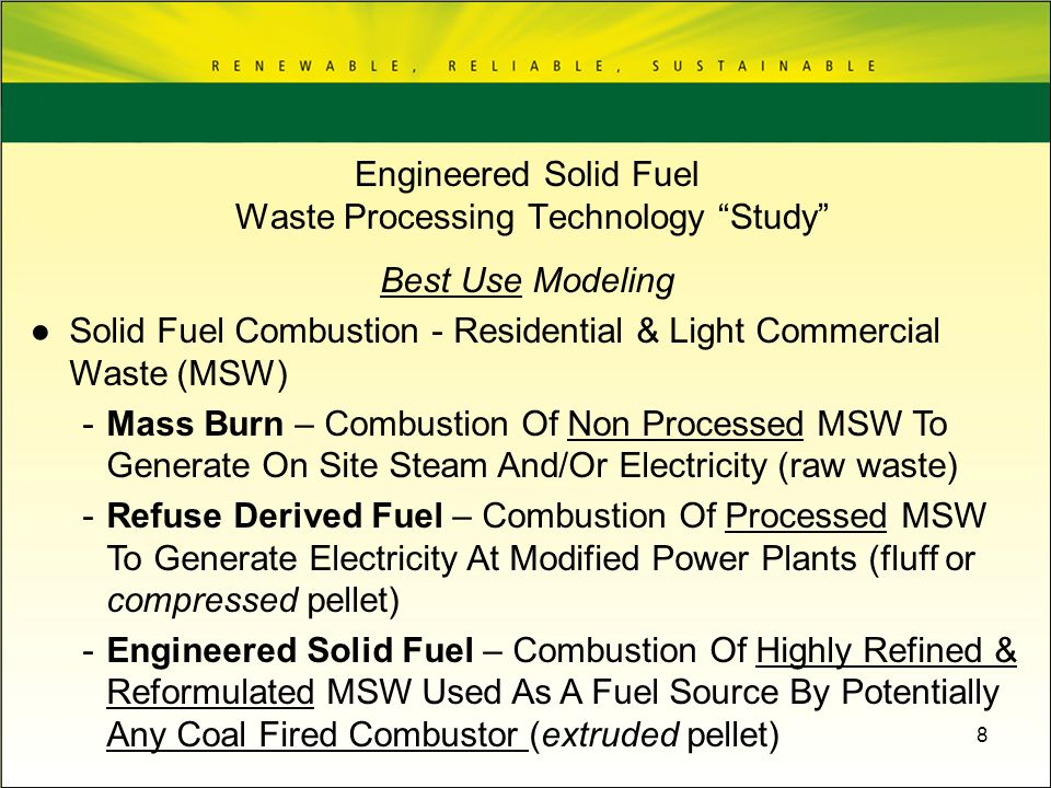 Engineered Solid Fuel Waste Processing Technology Study