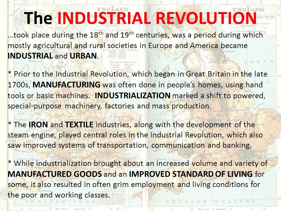 the industrial revolution in the late