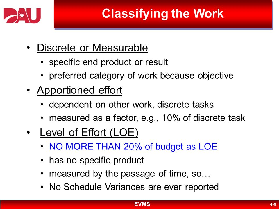 Classifying the Work Discrete or Measurable Apportioned effort
