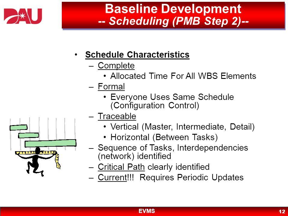 Baseline Development -- Scheduling (PMB Step 2)--