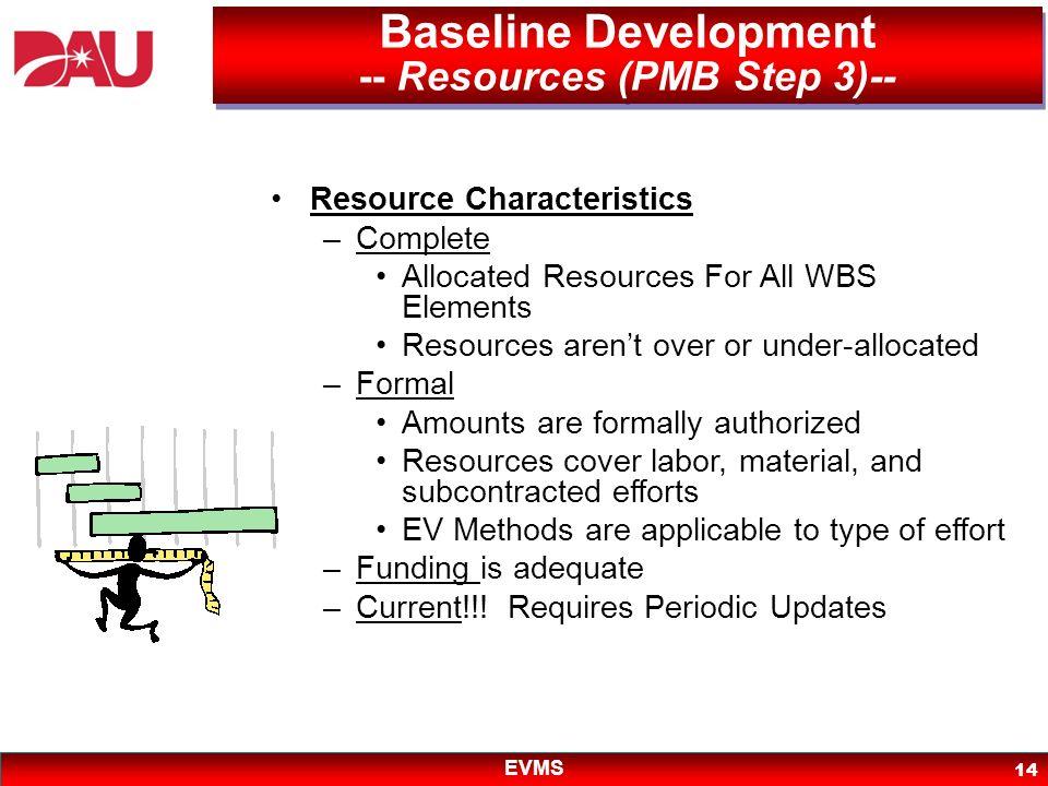 Baseline Development -- Resources (PMB Step 3)--