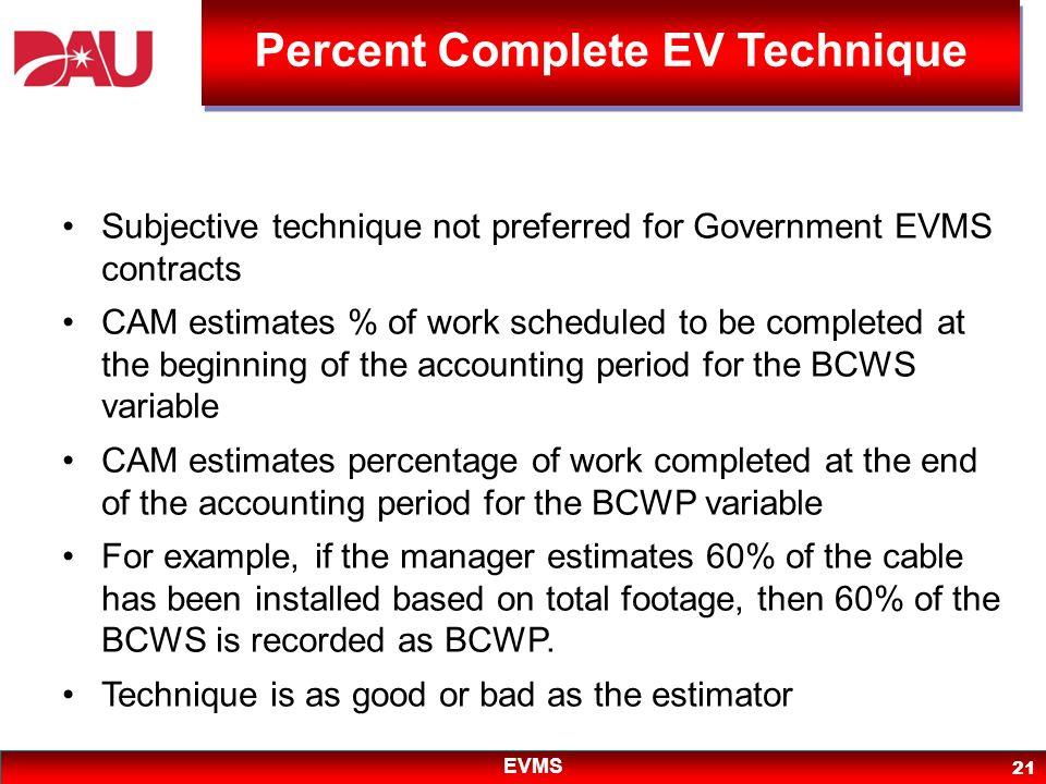 Percent Complete EV Technique