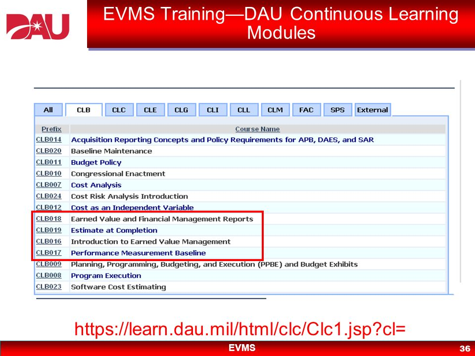 EVMS Training—DAU Continuous Learning Modules