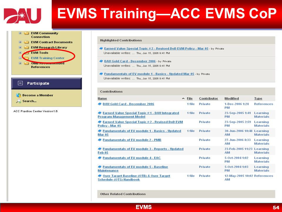EVMS Training—ACC EVMS CoP