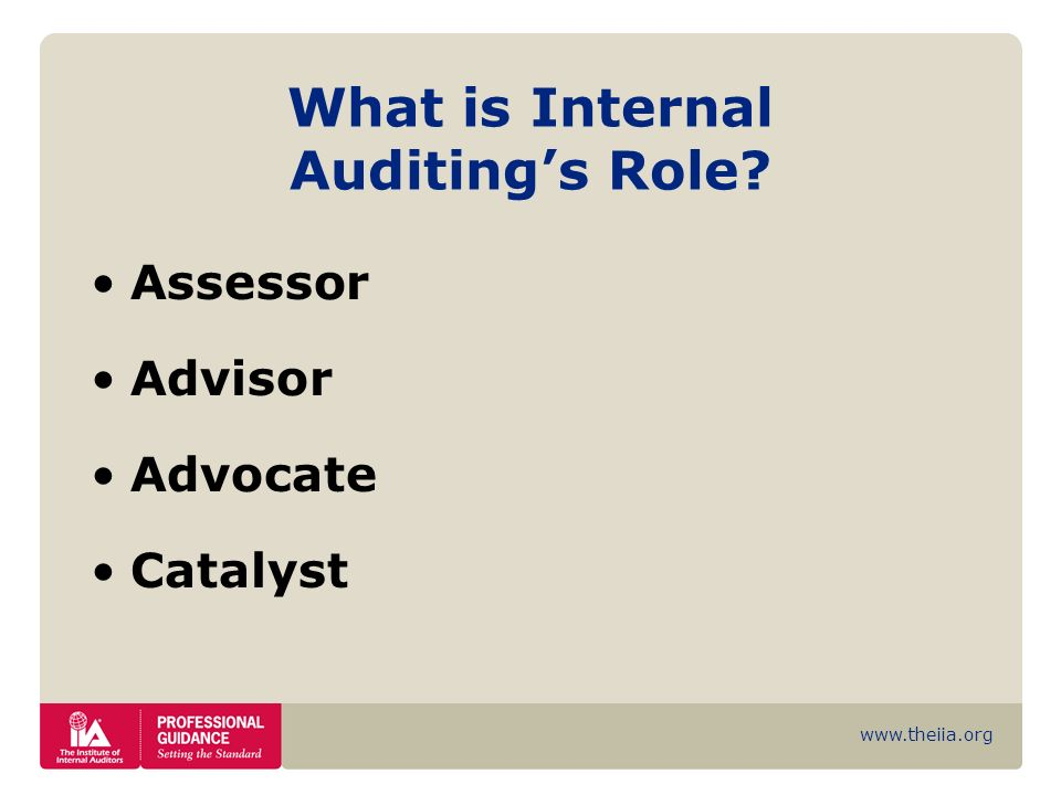 What is Internal Auditing's Role