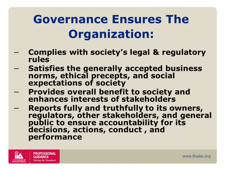 Governance Ensures The Organization: