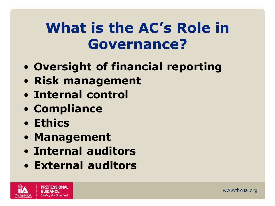 What is the AC's Role in Governance