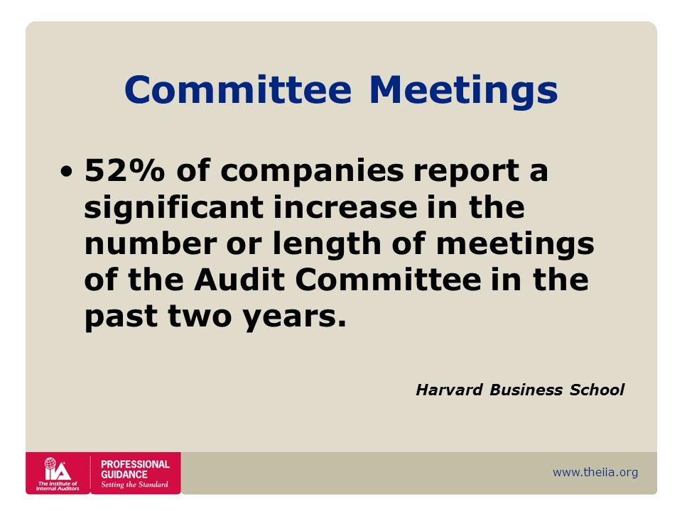 Committee Meetings 52% of companies report a significant increase in the number or length of meetings of the Audit Committee in the past two years.