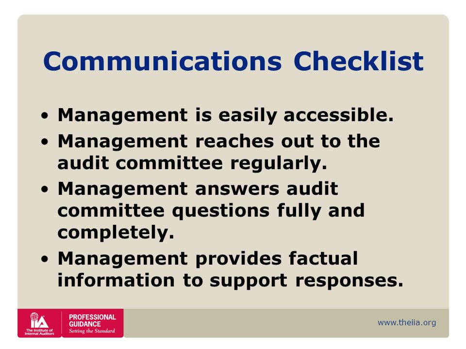 Communications Checklist