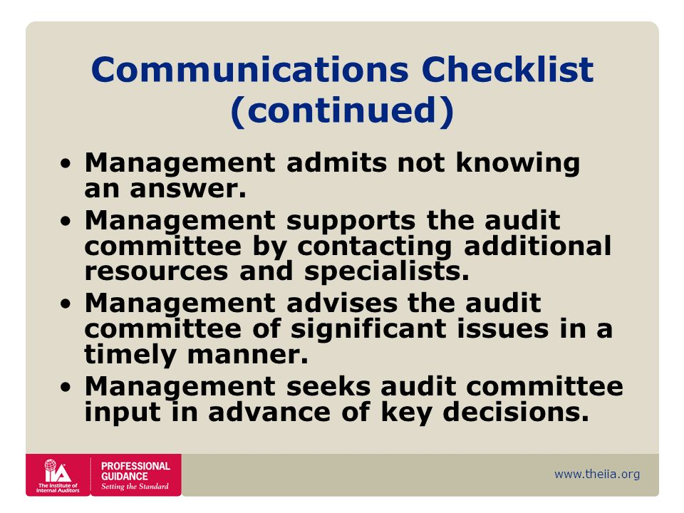 Communications Checklist (continued)