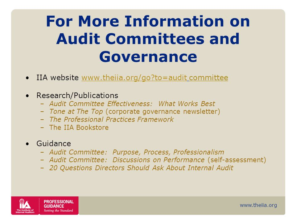 For More Information on Audit Committees and Governance