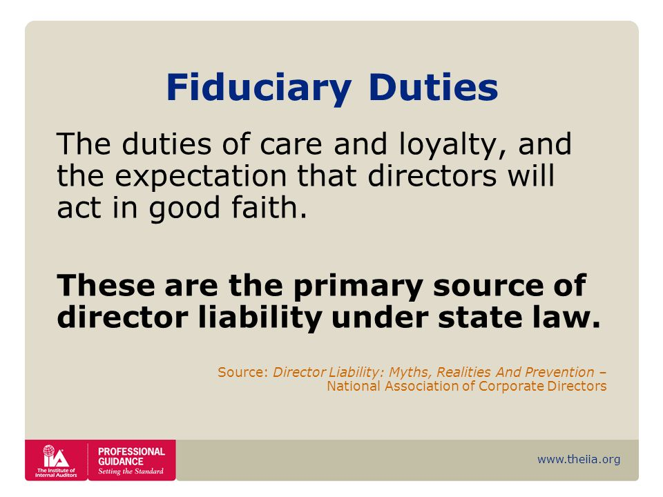 Fiduciary Duties The duties of care and loyalty, and the expectation that directors will act in good faith.