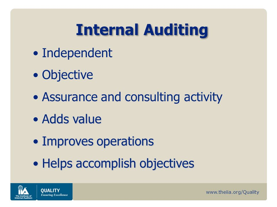 Internal Auditing Independent Objective