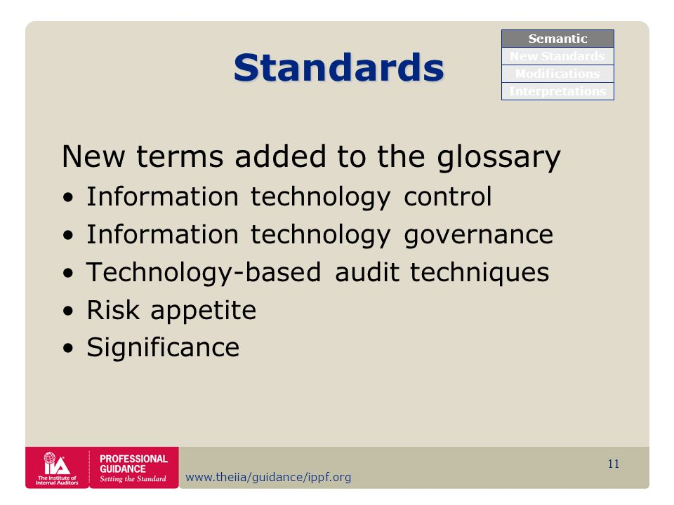 Standards New terms added to the glossary
