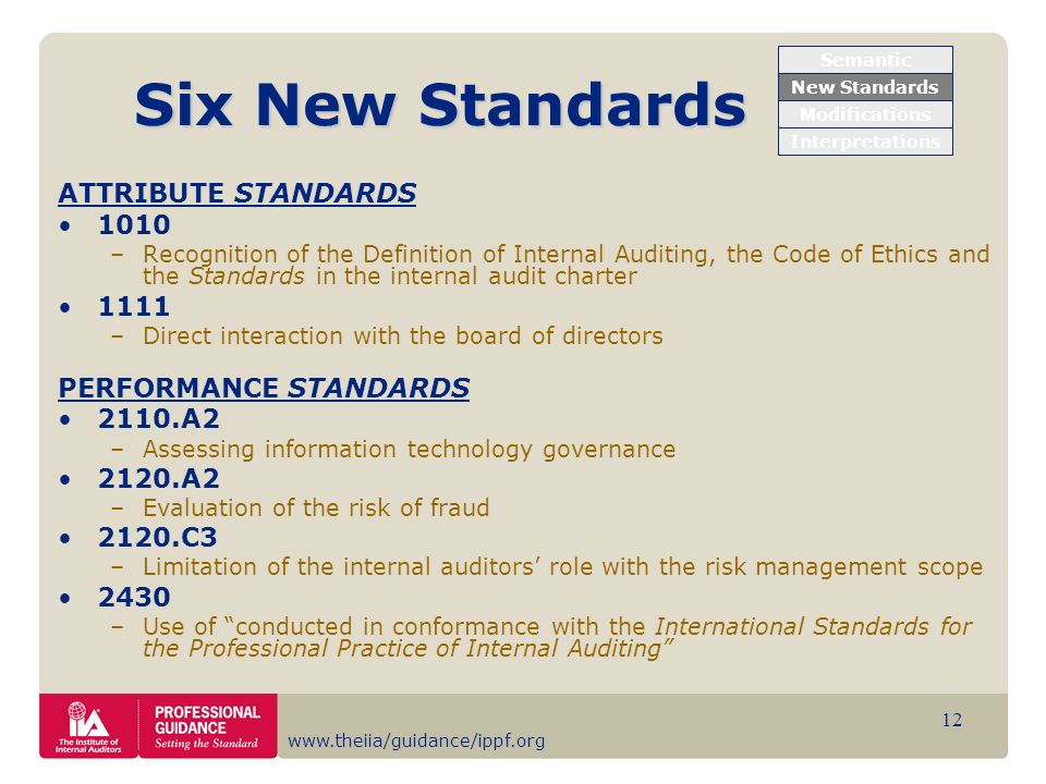 Six New Standards ATTRIBUTE STANDARDS PERFORMANCE STANDARDS