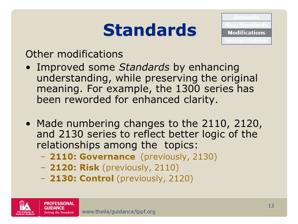 Standards Other modifications