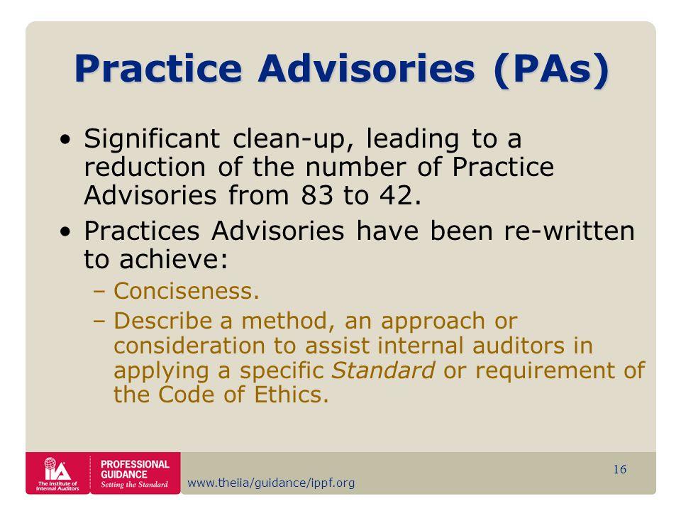 Practice Advisories (PAs)