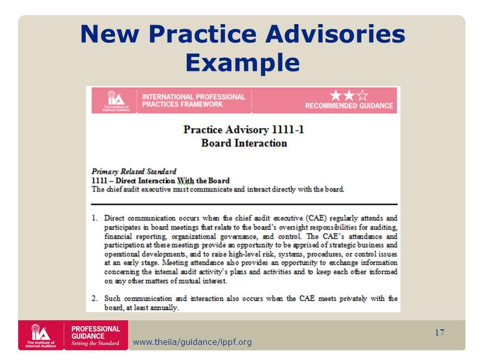 New Practice Advisories Example