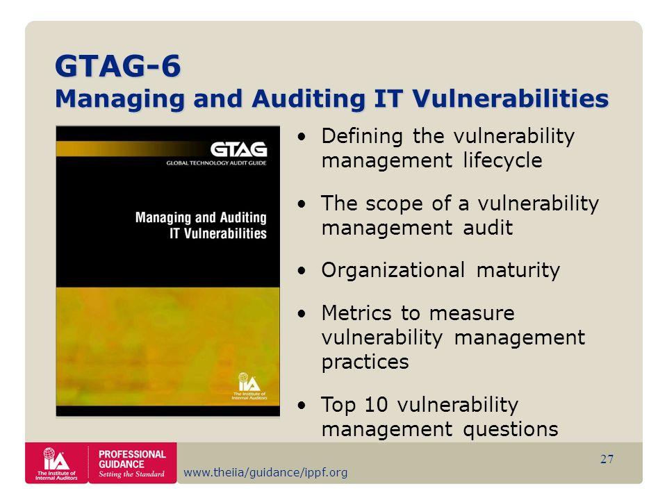 GTAG-6 Managing and Auditing IT Vulnerabilities