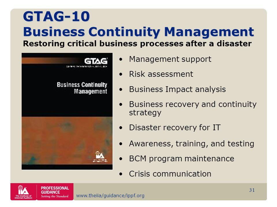 GTAG-10 Business Continuity Management Restoring critical business processes after a disaster