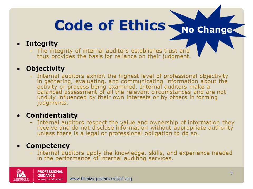Code of Ethics No Change Integrity Objectivity Confidentiality