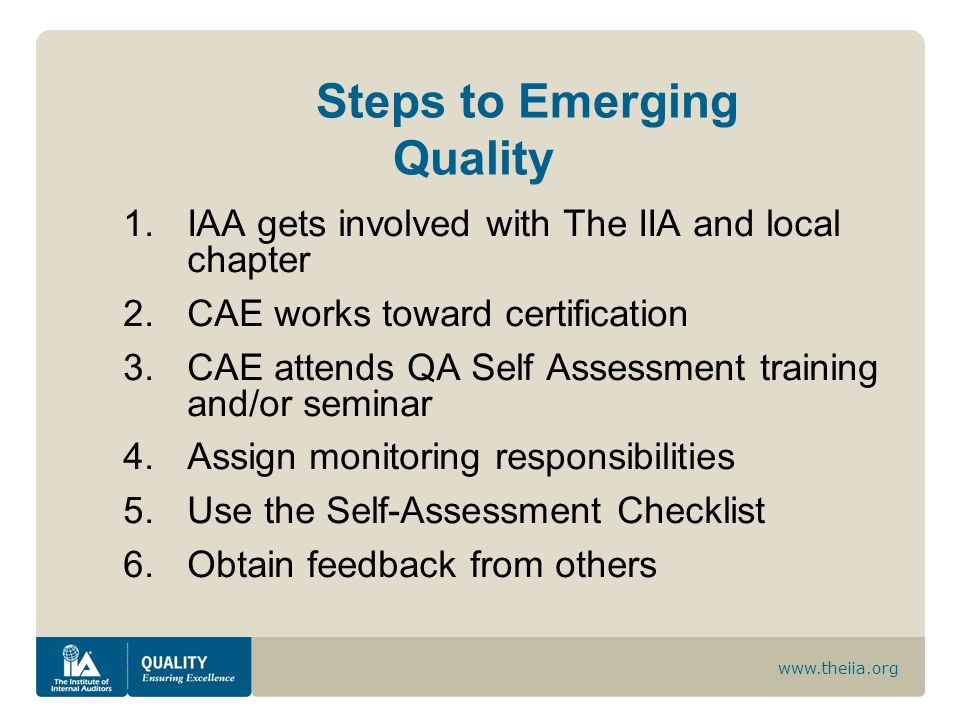Steps to Emerging Quality