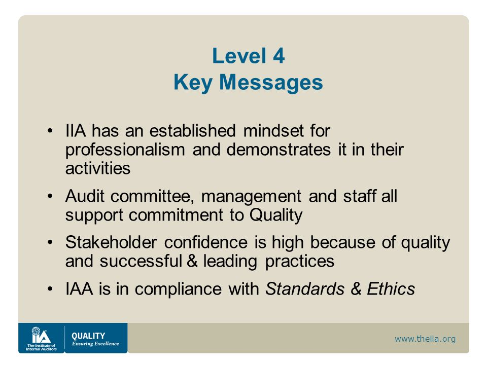 Level 4 Key Messages IIA has an established mindset for professionalism and demonstrates it in their activities.