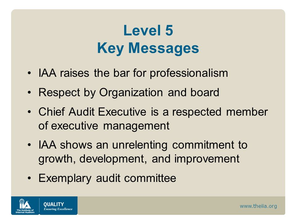 Level 5 Key Messages IAA raises the bar for professionalism