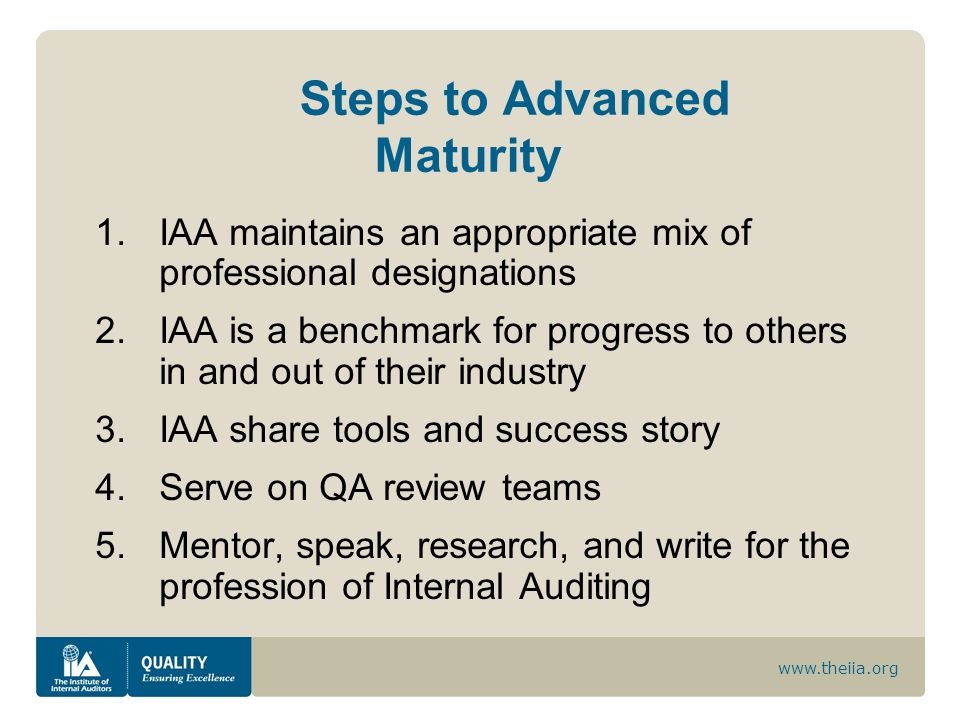 Steps to Advanced Maturity