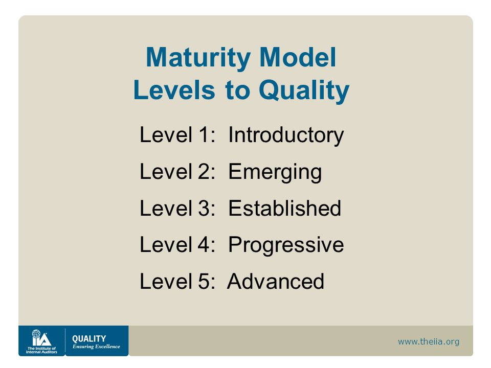 Maturity Model Levels to Quality