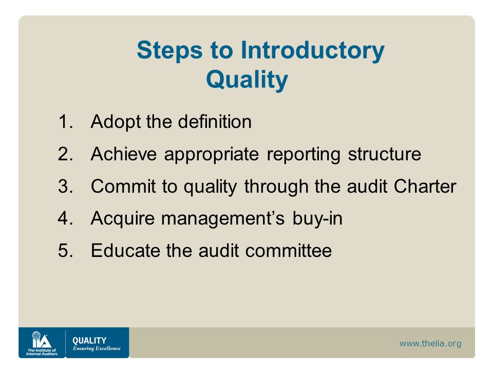 Steps to Introductory Quality