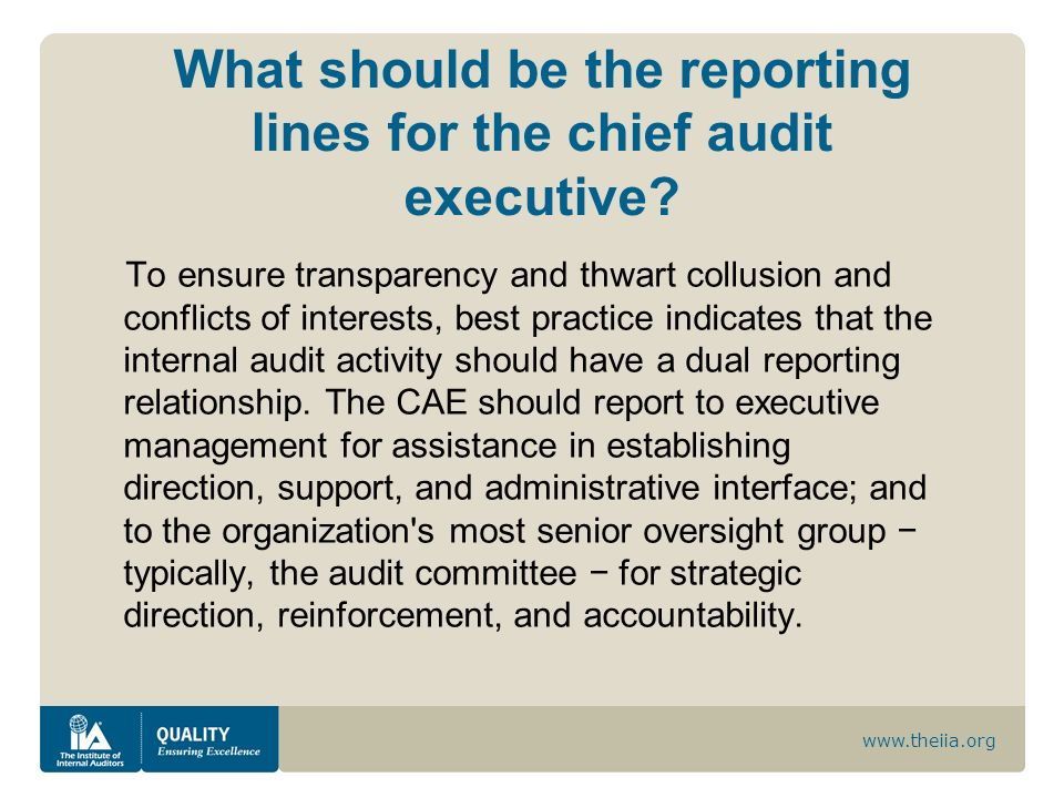 What should be the reporting lines for the chief audit executive