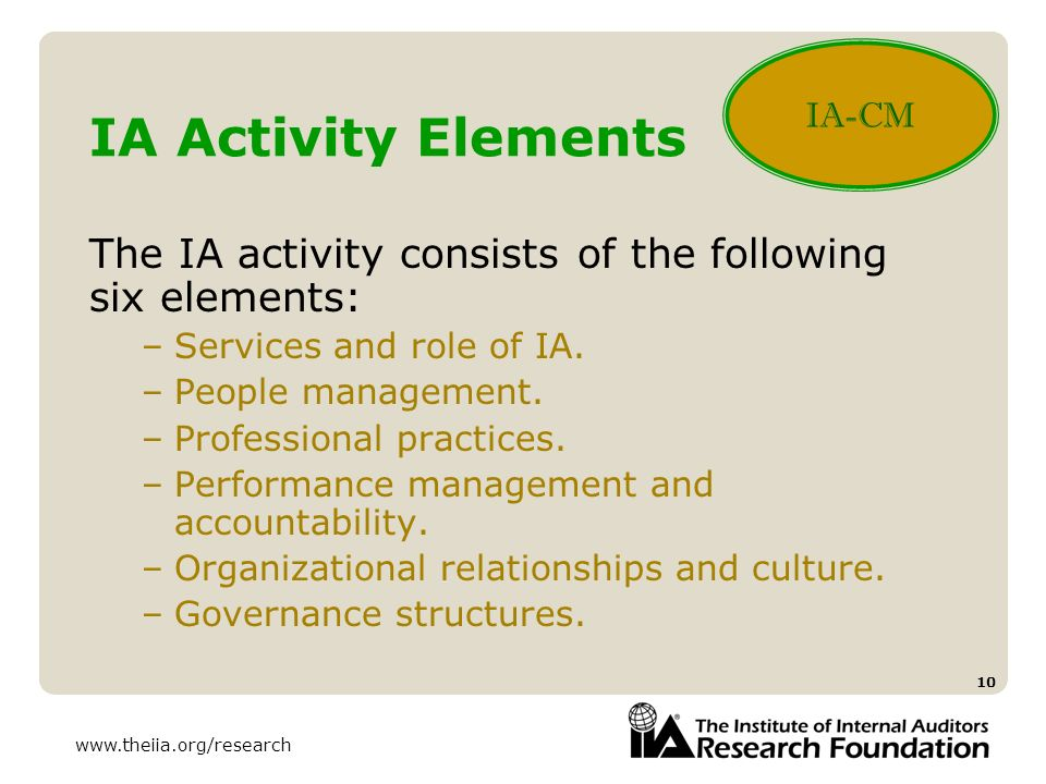 IA-CM IA Activity Elements. The IA activity consists of the following six elements: Services and role of IA.