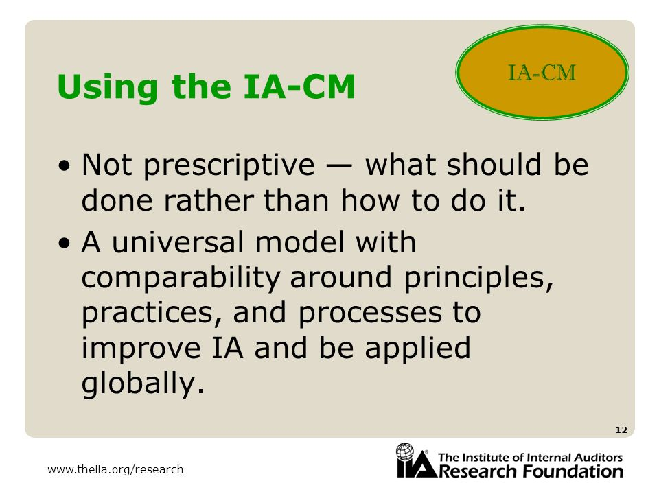 IA-CM Using the IA-CM. Not prescriptive — what should be done rather than how to do it.
