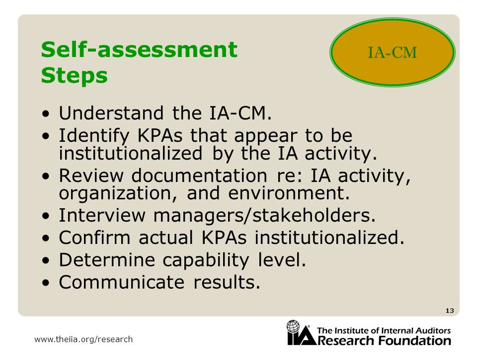 Self-assessment Steps