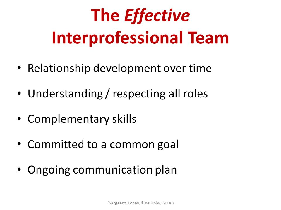 An Interdisciplinary Team Approach to Best Practices Development