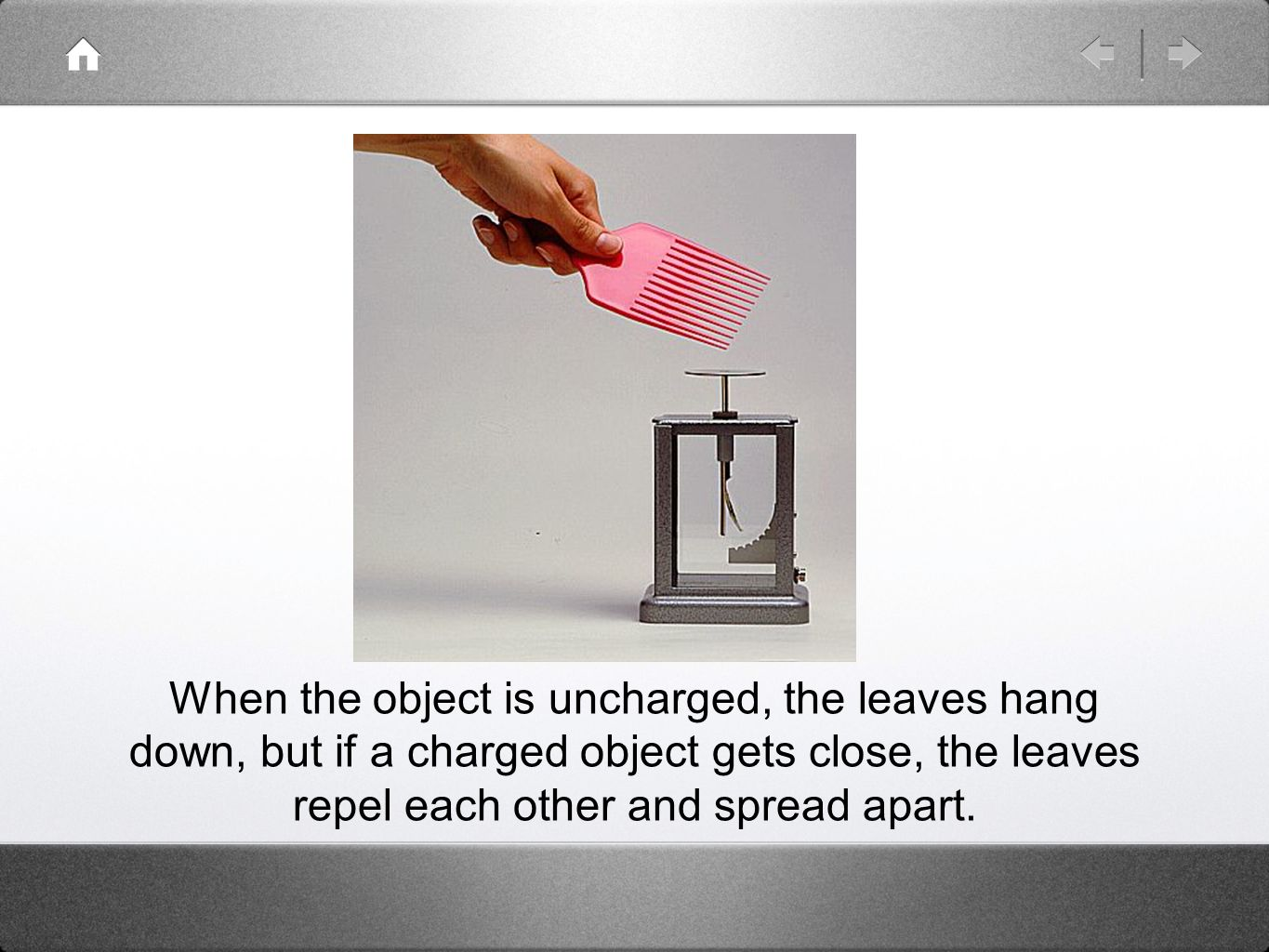 When the object is uncharged, the leaves hang down, but if a charged object gets close, the leaves repel each other and spread apart.