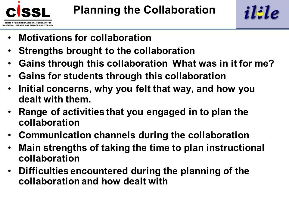 Planning the Collaboration