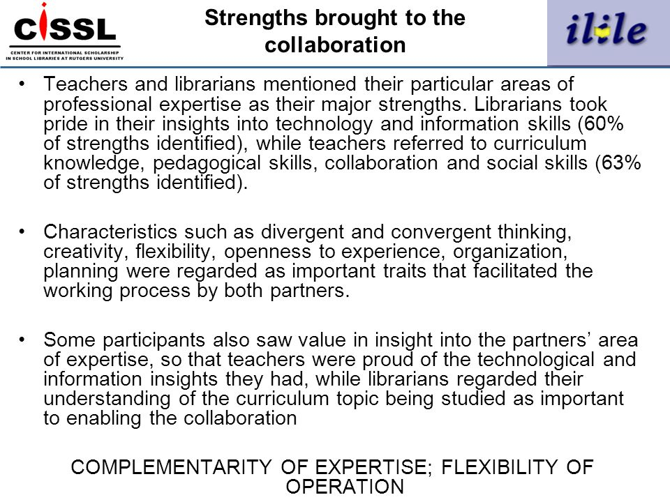 Strengths brought to the collaboration
