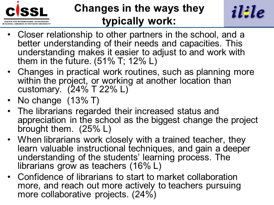 Changes in the ways they typically work:
