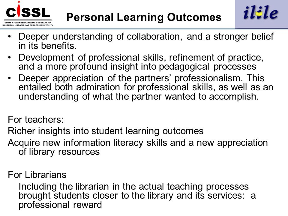 Personal Learning Outcomes