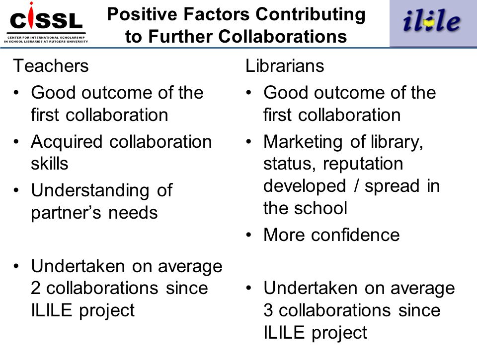 Positive Factors Contributing to Further Collaborations