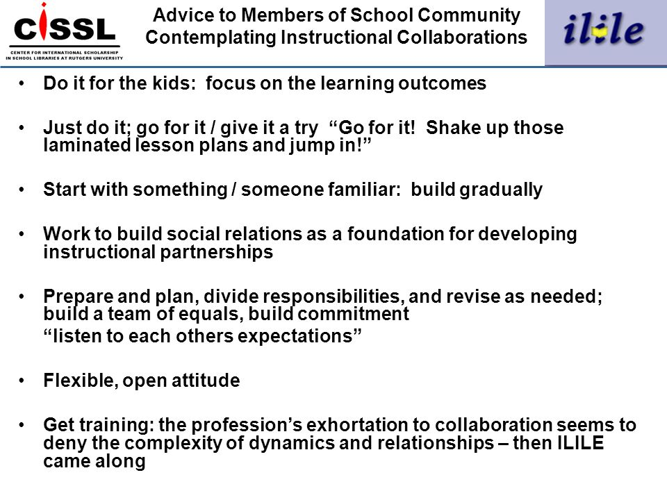 Advice to Members of School Community Contemplating Instructional Collaborations