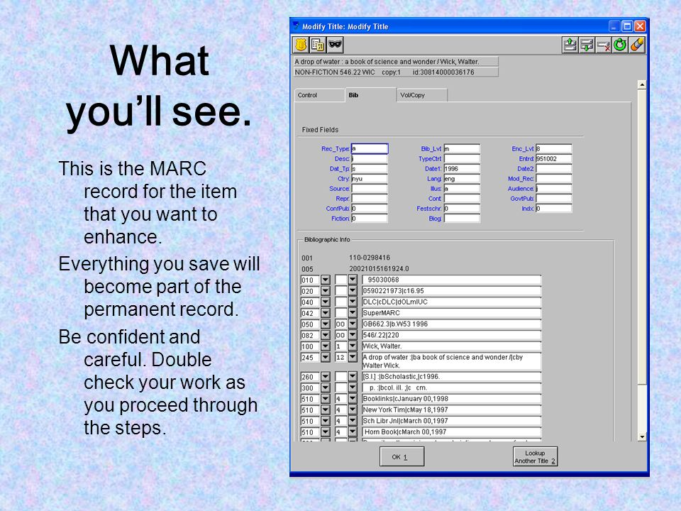 What you'll see. This is the MARC record for the item that you want to enhance. Everything you save will become part of the permanent record.