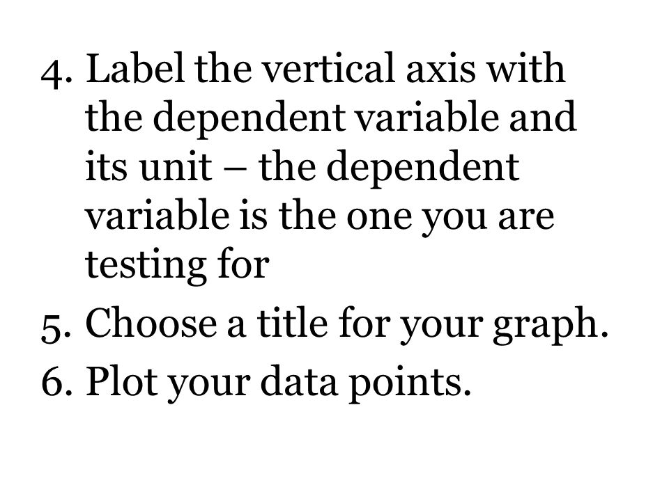 Label the vertical axis with the dependent variable and its unit – the dependent variable is the one you are testing for