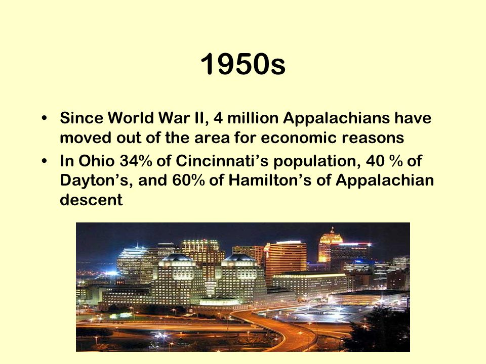 1950s Since World War II, 4 million Appalachians have moved out of the area for economic reasons.