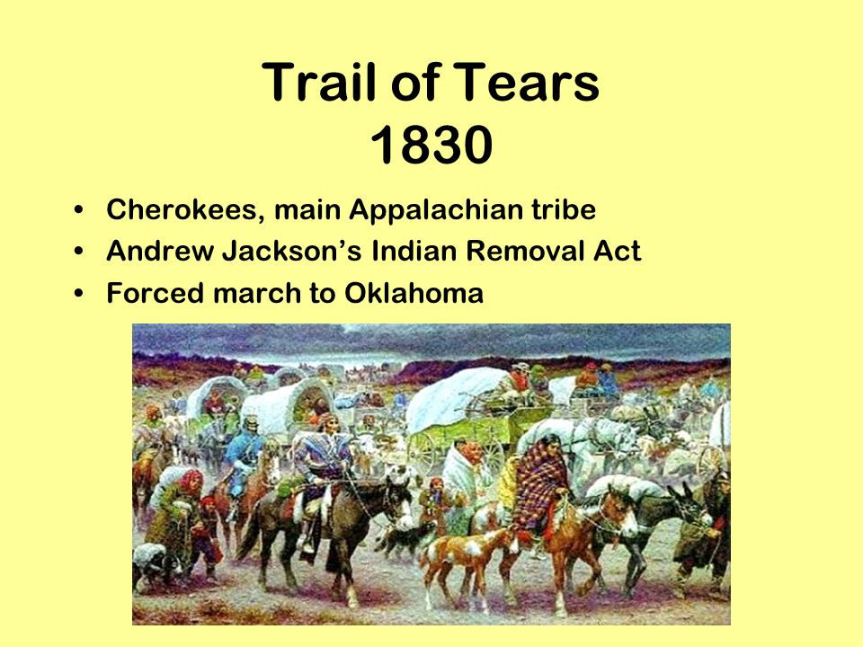 Trail of Tears 1830 Cherokees, main Appalachian tribe