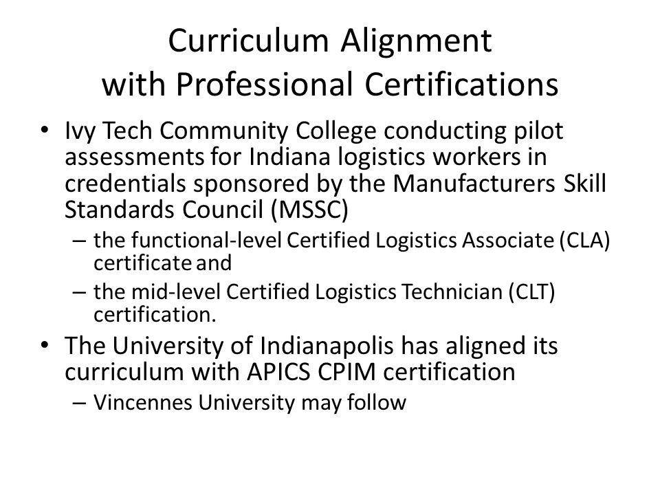 Curriculum Alignment with Professional Certifications